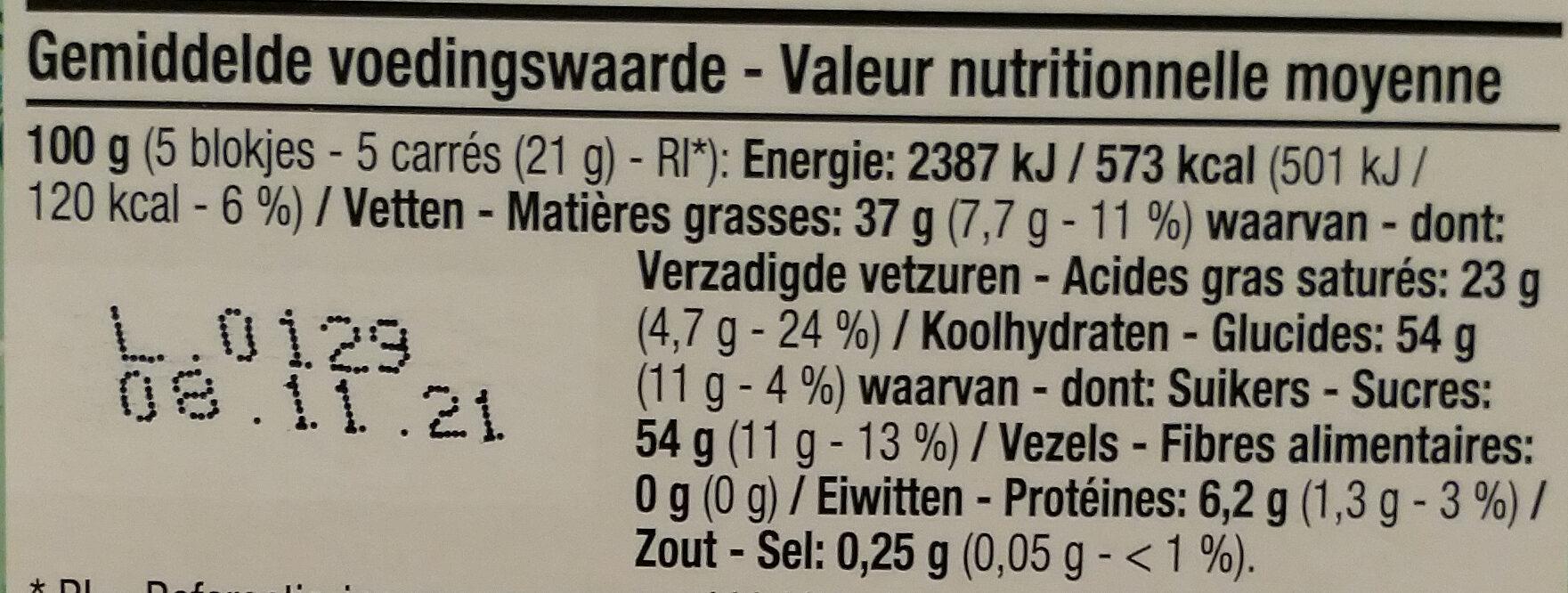Chocolat blanc - Voedingswaarden - fr