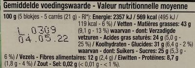 Chocolat noir bio aux éclats de noisettes - Voedingswaarden - fr