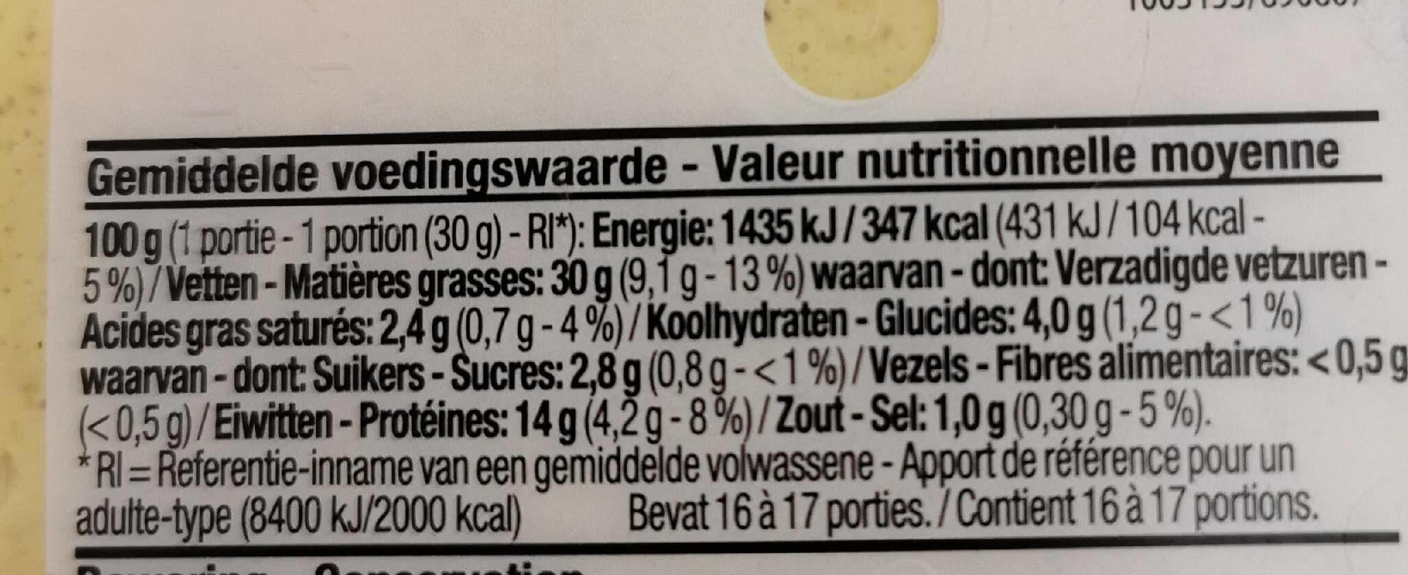 Salade de poulet Curry - Voedingswaarden - fr