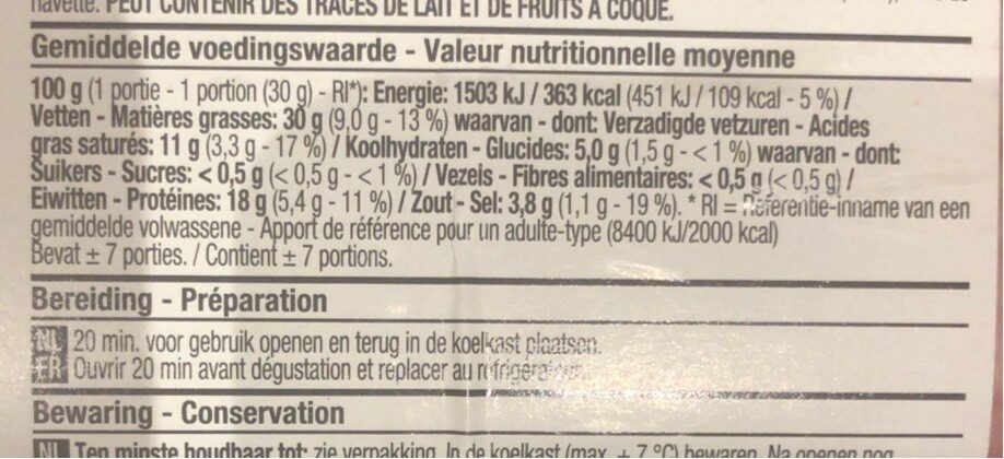 Salami Bolzano - Informations nutritionnelles - fr