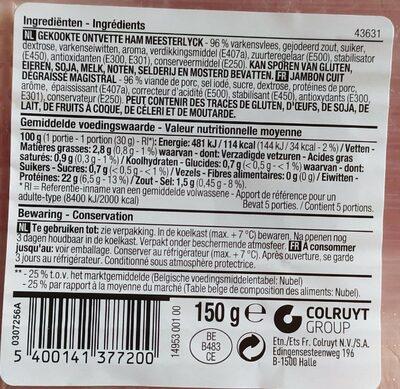 Jambon cuit - Voedingswaarden - fr