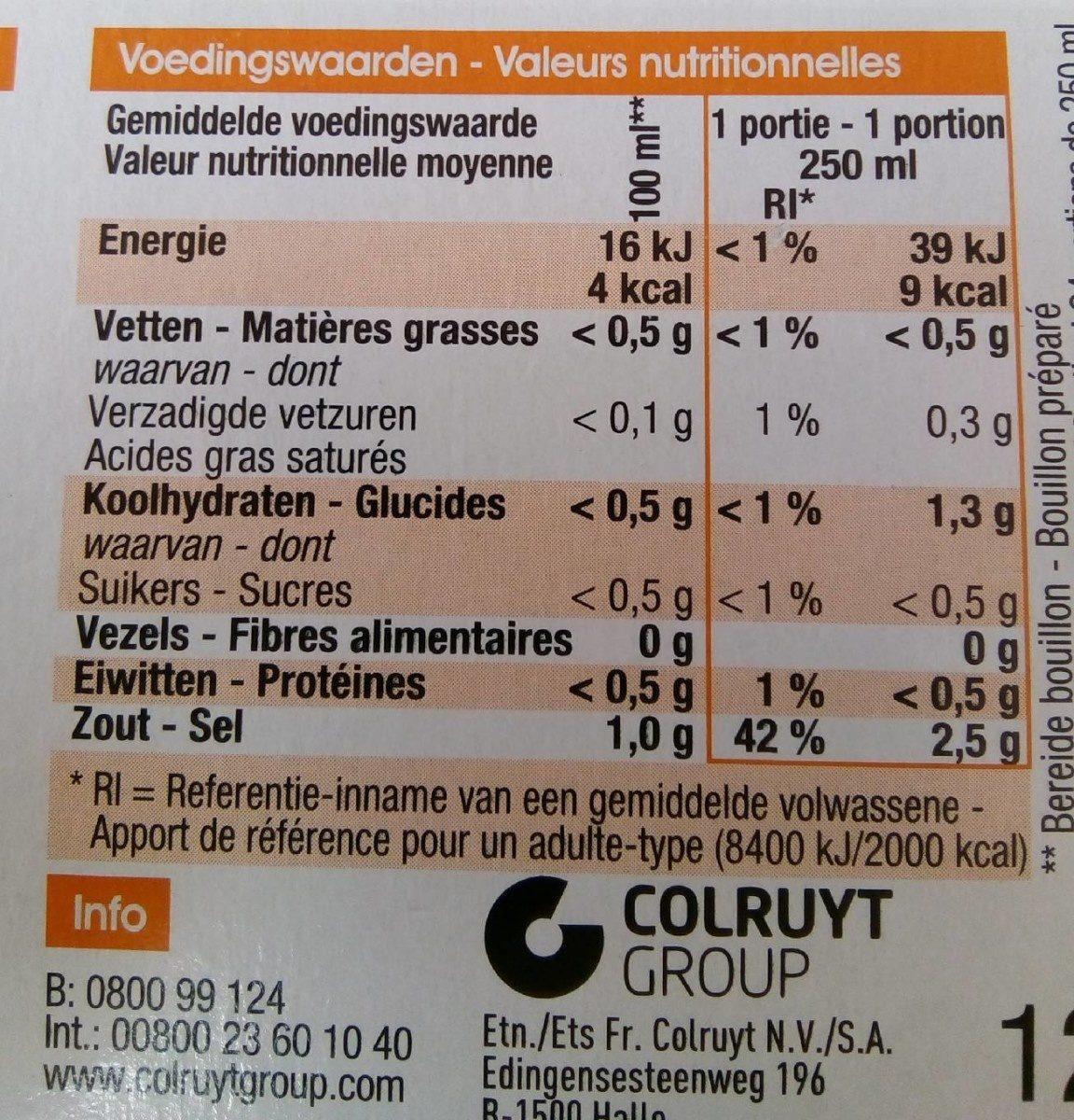 Cube bouillon de légumes - Voedingswaarden - fr