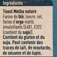 Melba Toast - Ingredients - fr