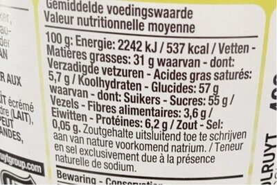 Pâtr àtartiner - Valori nutrizionali - fr