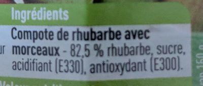 Compote de rhubarbe avec morceaux - Ingrédients