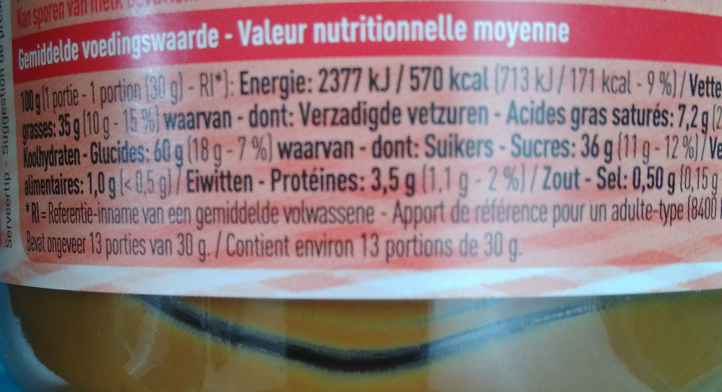 Pate de speculoos - Nutrition facts - fr
