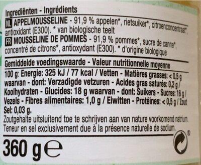 Mousseline pommes Bio - Voedingswaarden - fr
