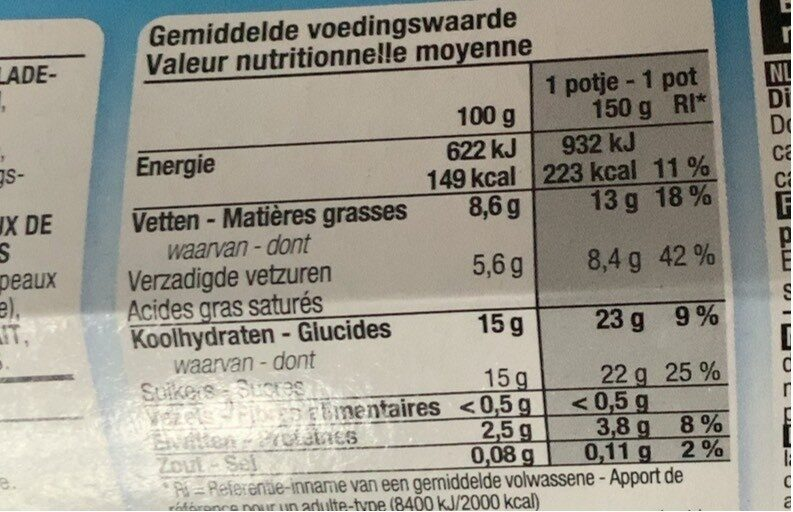 Yaourt à la grecque stracciatella - Voedingswaarden - fr