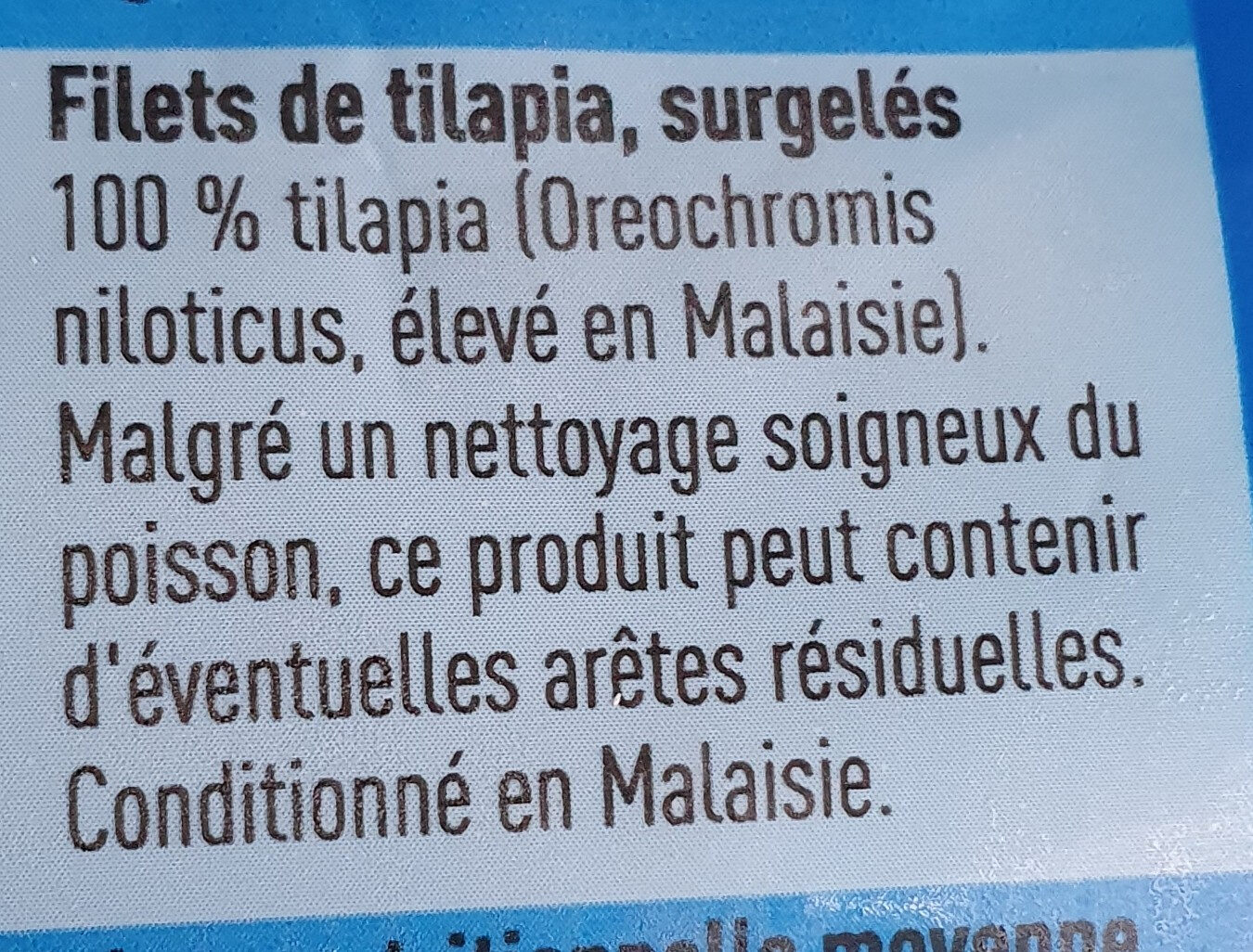 Filets de tilapia boni - Ingrediënten