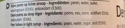 Demi-poires au sirop léger - Ingrediënten - en