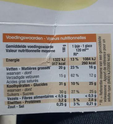 Glaces à la vanille - Voedingswaarden
