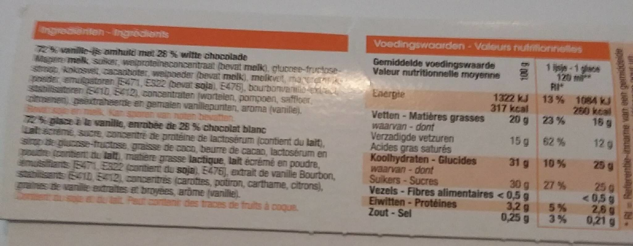 Glaces à la vanille - Voedingswaarden - fr