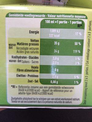 Bio crème fouettable - Nutrition facts - fr