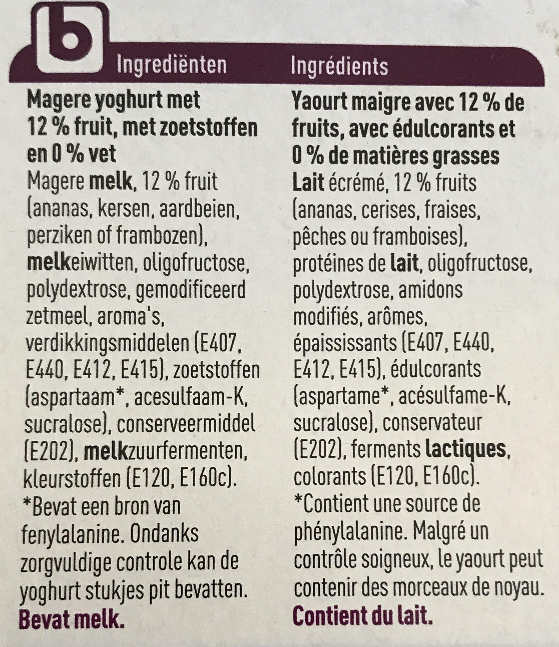 Yaourt fruit - Ingrédients