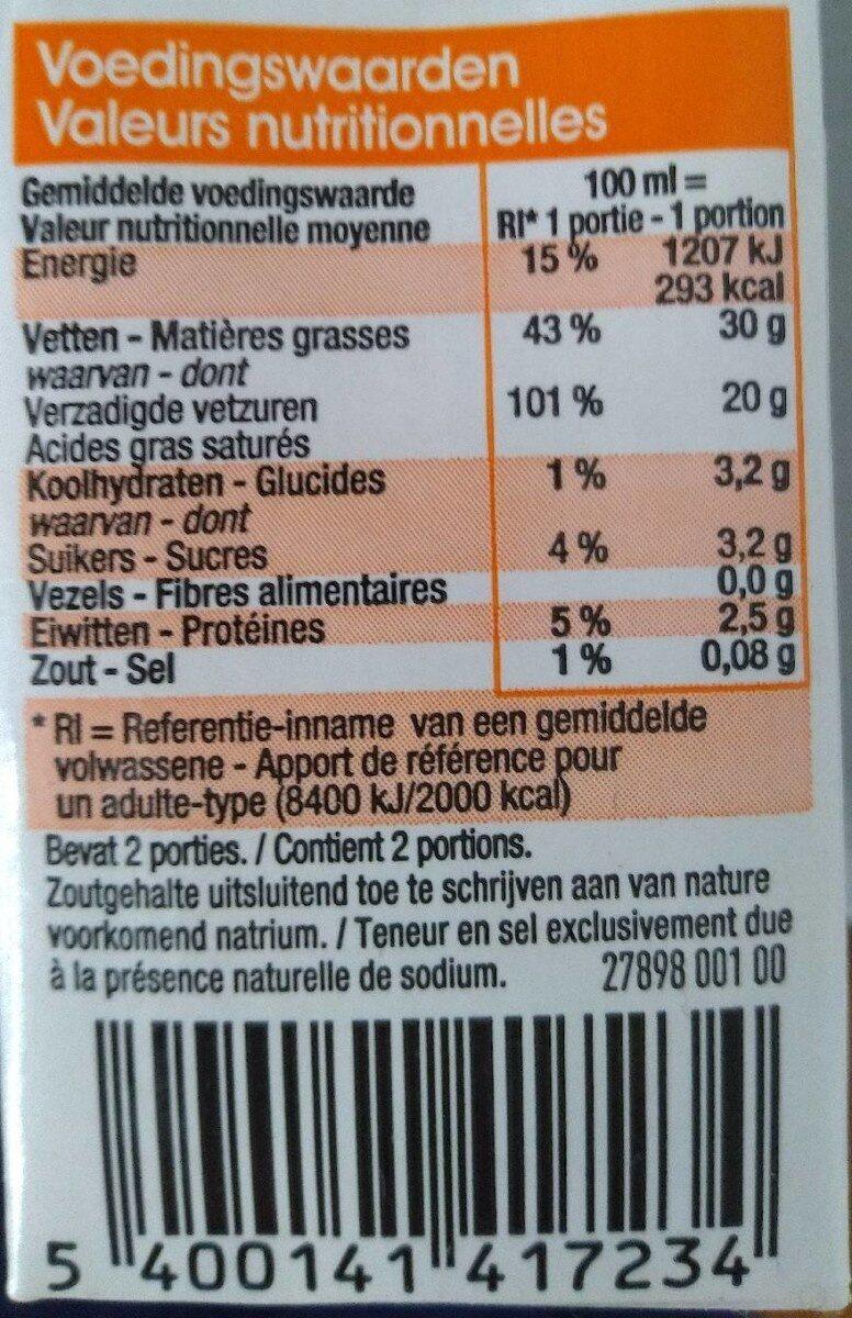 Room Crème - Nutrition facts - fr