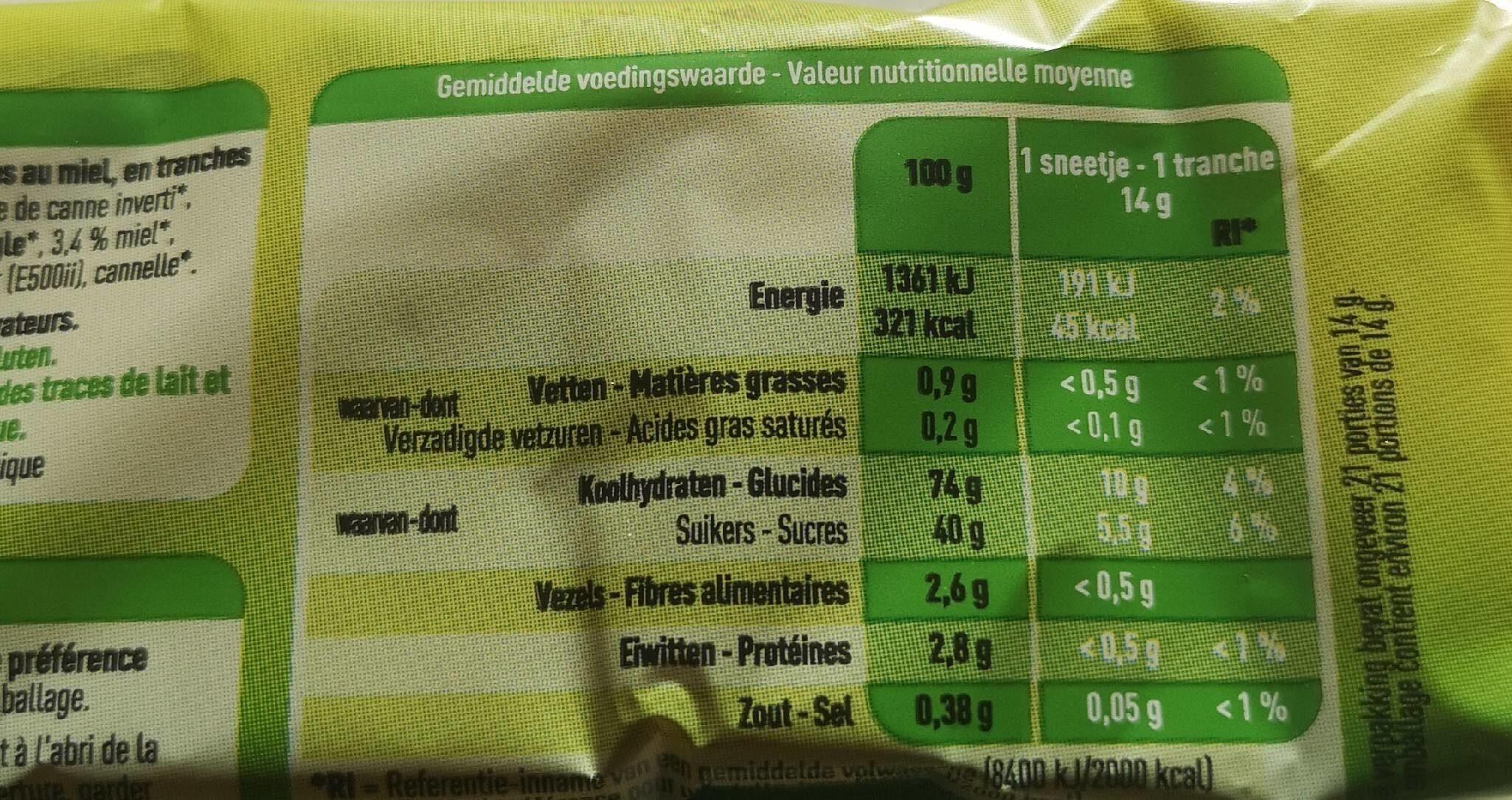 Couque au Miel - Informations nutritionnelles - fr