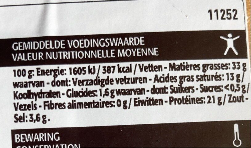 Salami sans ail - Informations nutritionnelles - nl