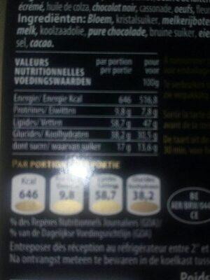 mini tarte au chocolat - Informations nutritionnelles - fr