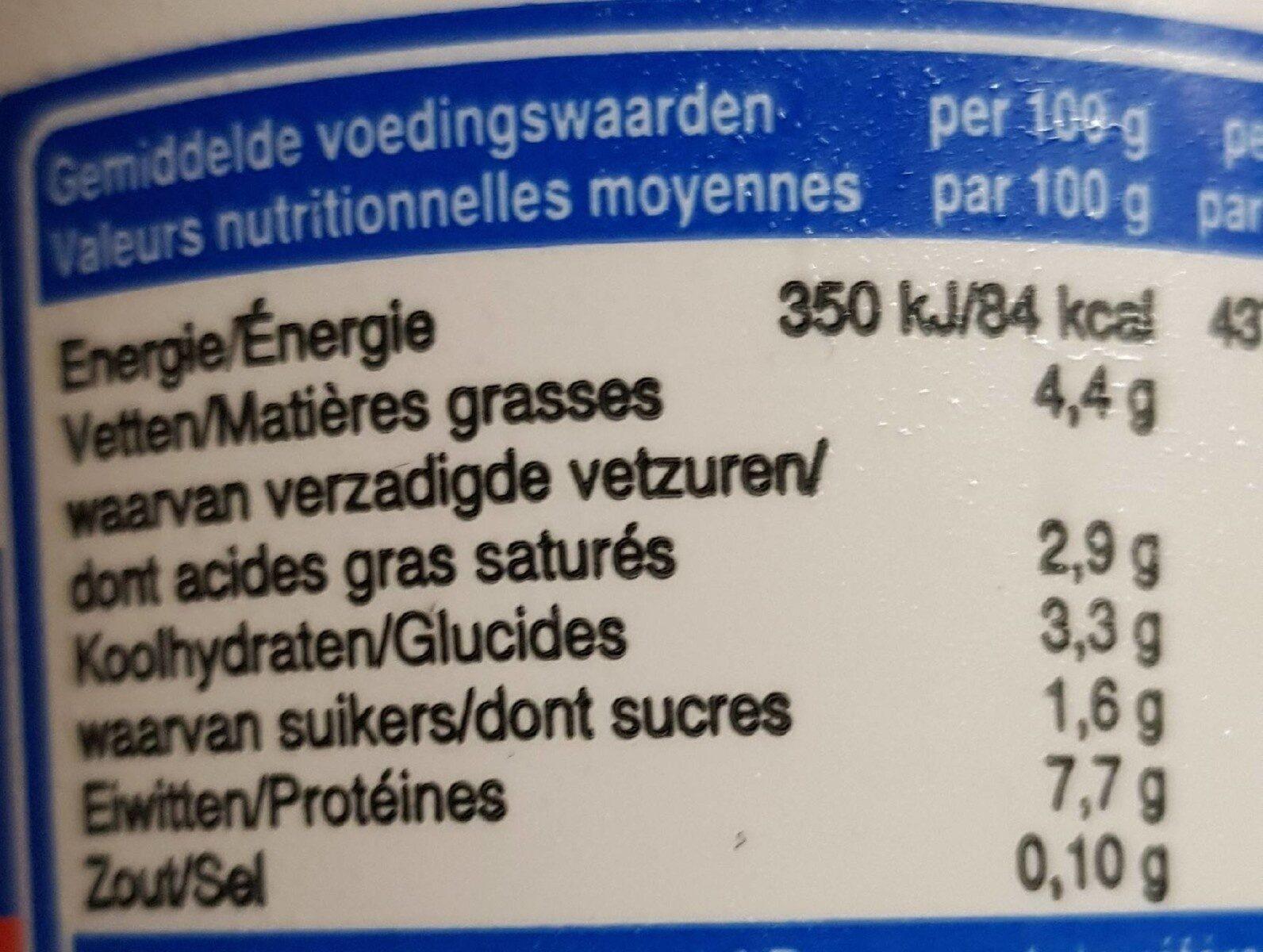 Fromage frais Belge - Voedingswaarden - en