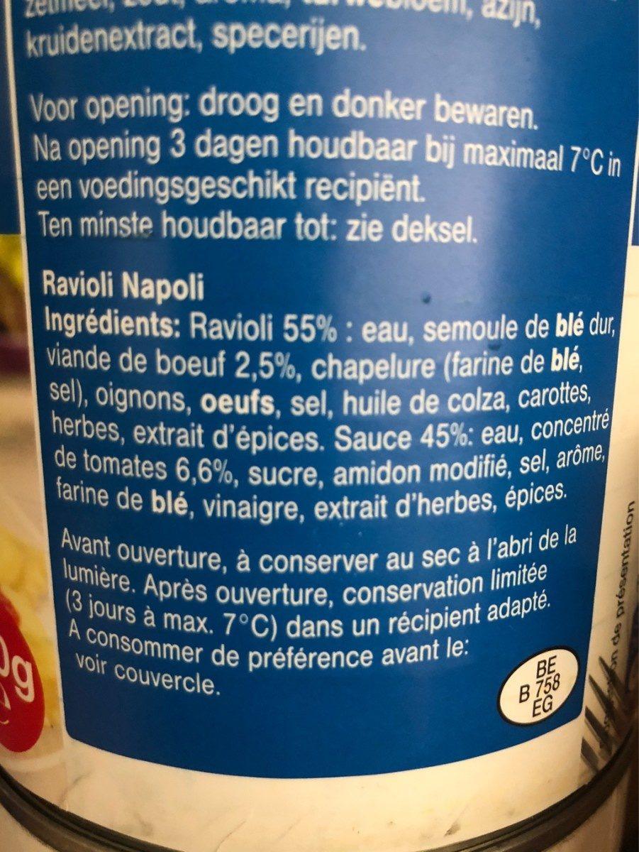 Ravioli - Ingrédients