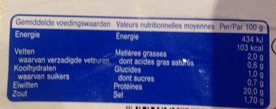 Filet de dinde - Voedingswaarden - fr