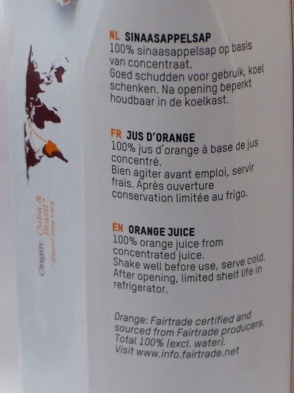 Oxfam Orange juice - Ingrediënten - fr