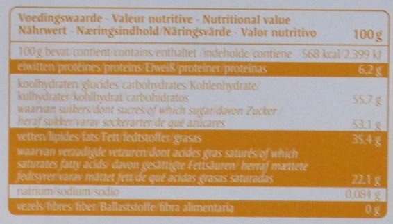 Oxfam Crispy White - Nutrition facts - fr
