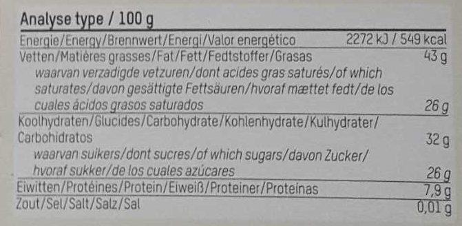 Original dark - Informations nutritionnelles