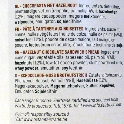 Oxfam Choco nut - Ingrediënten - fr