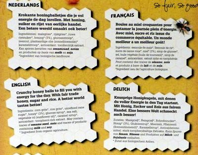 Oxfam Honey Balls - Ingrediënten