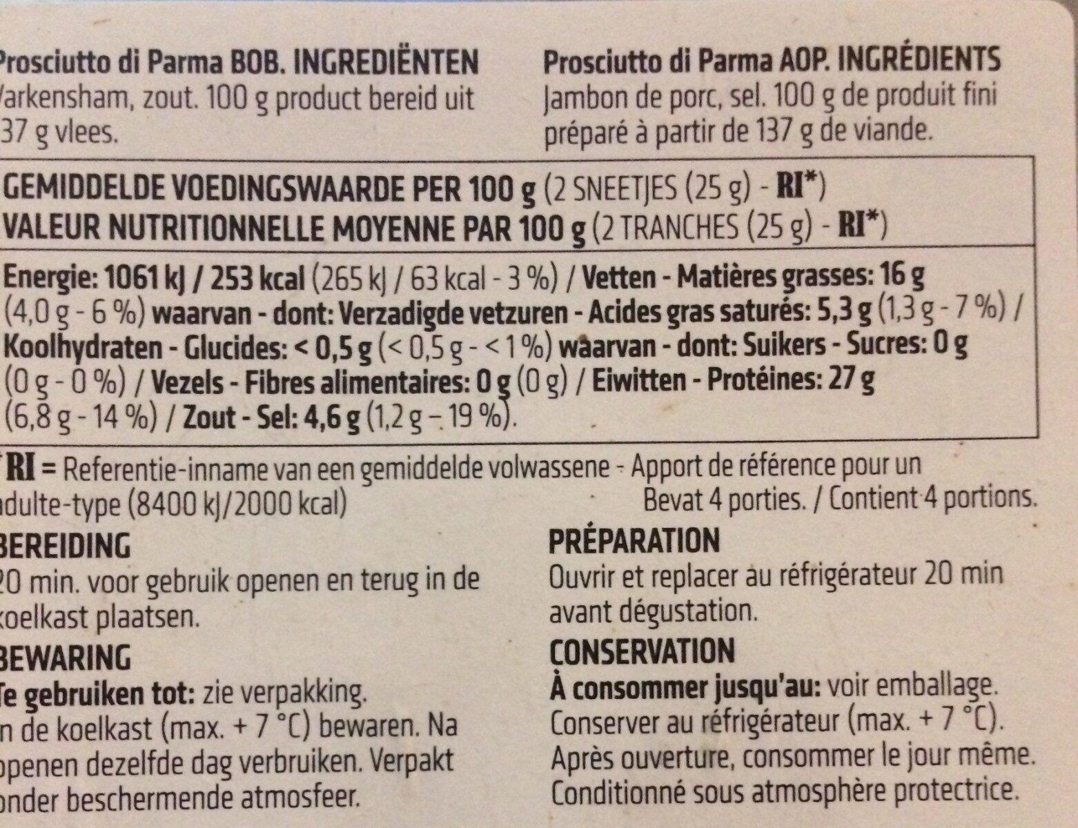 Prosciutto di Parma - Voedingswaarden - fr