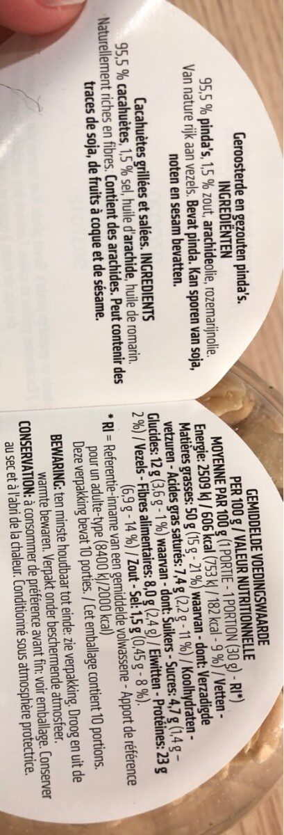 Cacahuètes grillées - salé - Voedingswaarden - fr