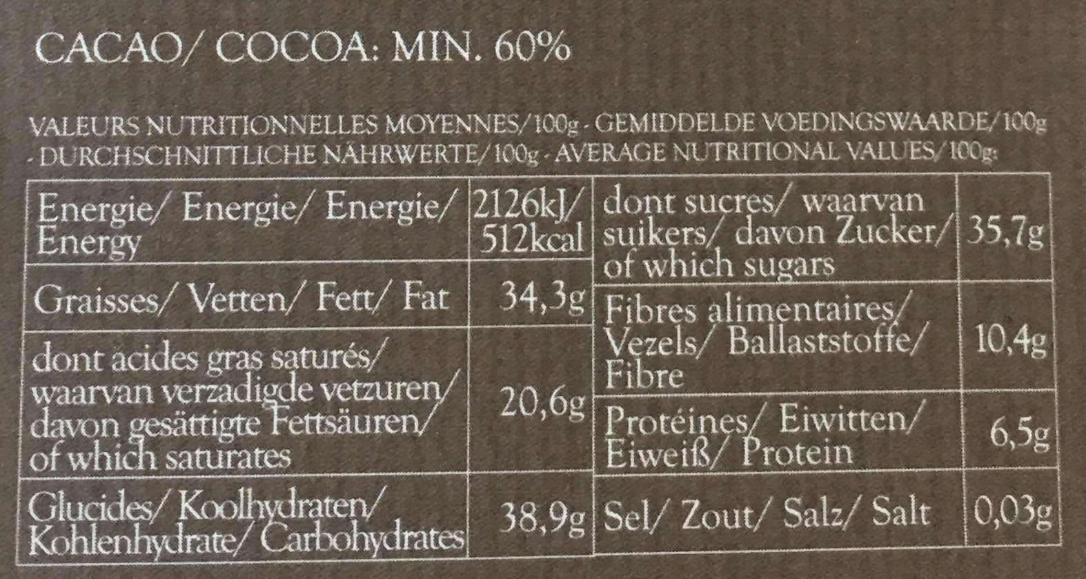 Noir & Café du Kenya - Nutrition facts