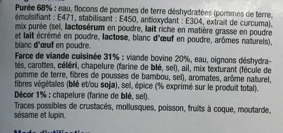 Hachis Parmentier, Surgelé - Ingredients