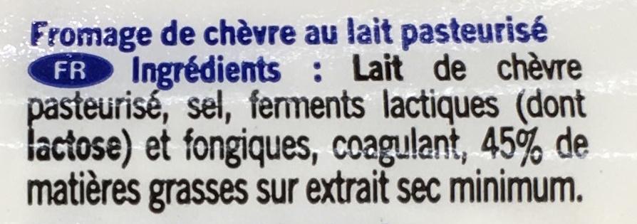 Fromage de chèvre au lait pasteurisé - Ingrediënten - fr