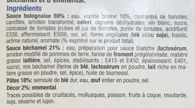 Lasagne à la Bolognaise, Surgelé - Inhaltsstoffe - fr