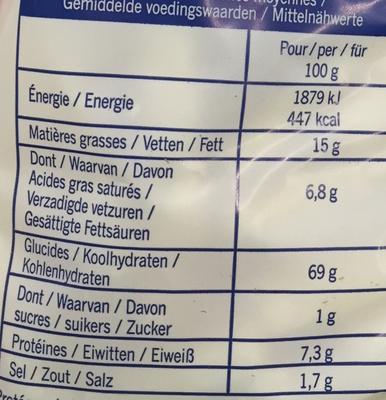 Snacks frites salées - Informations nutritionnelles - fr