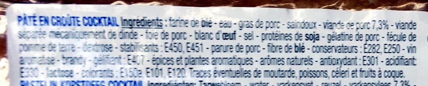 Pâté en croûte cocktail - Ingrediënten - fr