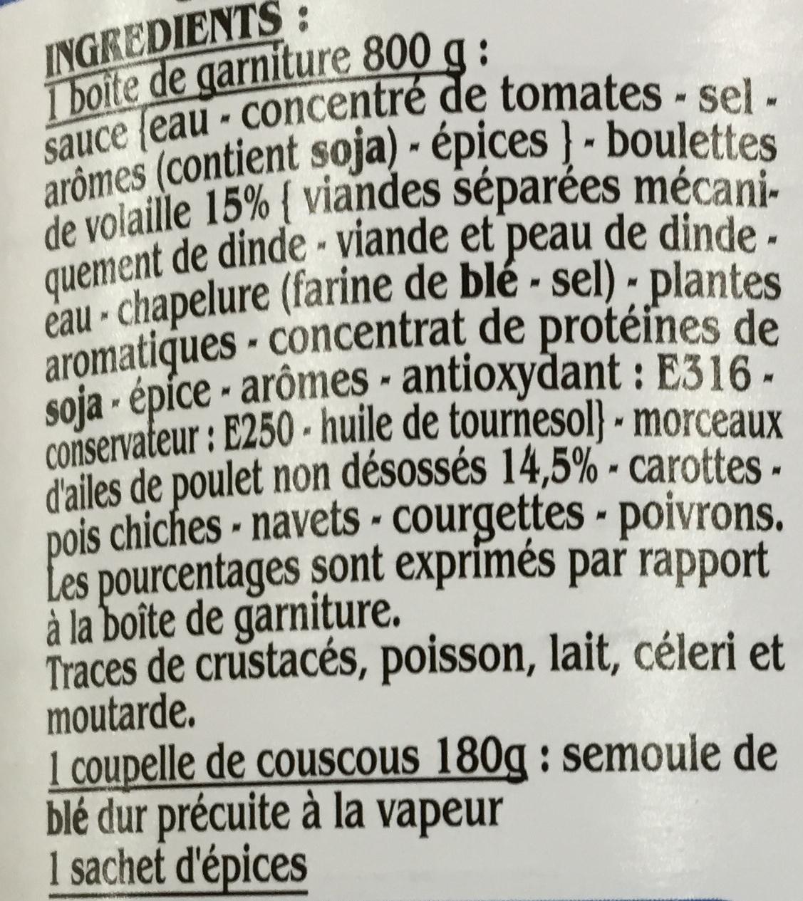 Couscous à la volaille - Ingrédients - fr