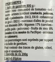 Paella Volaille et Fruits de Mer - Ingrédients