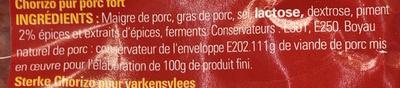 Chorizo Fort - Ingredients - fr