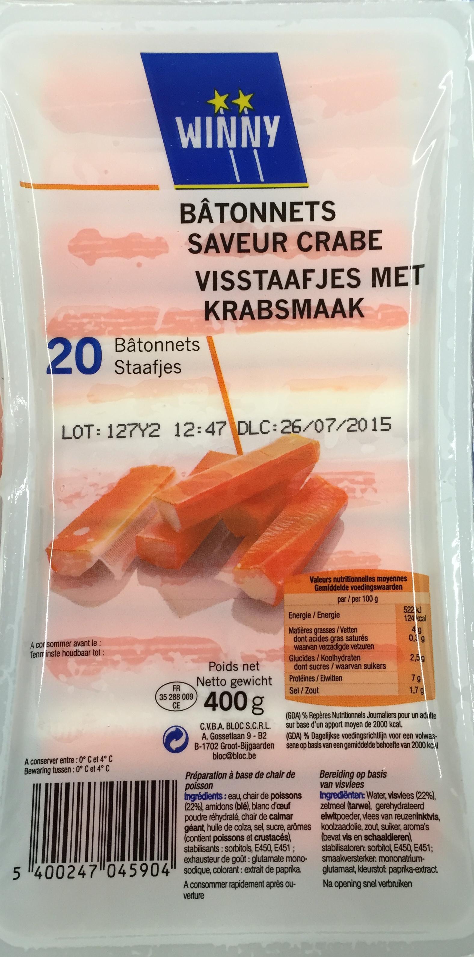 20 bâtonnets saveur Crabe - Product - fr