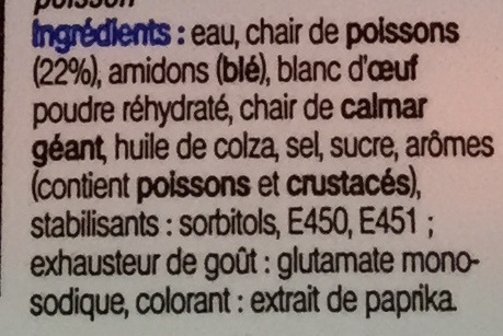 20 bâtonnets saveur Crabe - Ingredients - fr