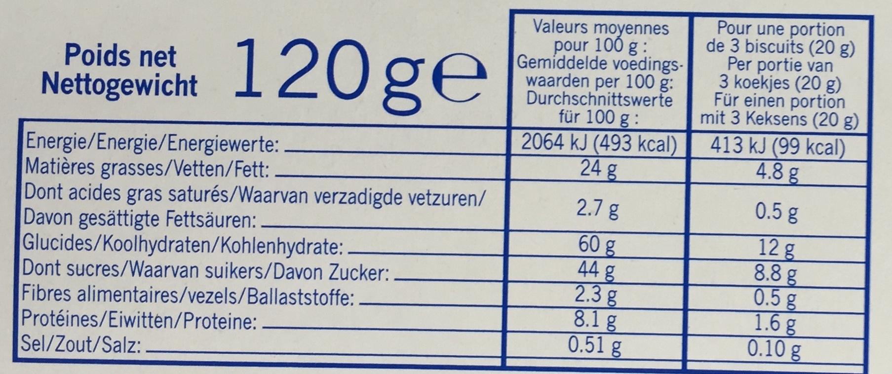 Barquettes au chocolat et aux noisettes - Informations nutritionnelles - fr