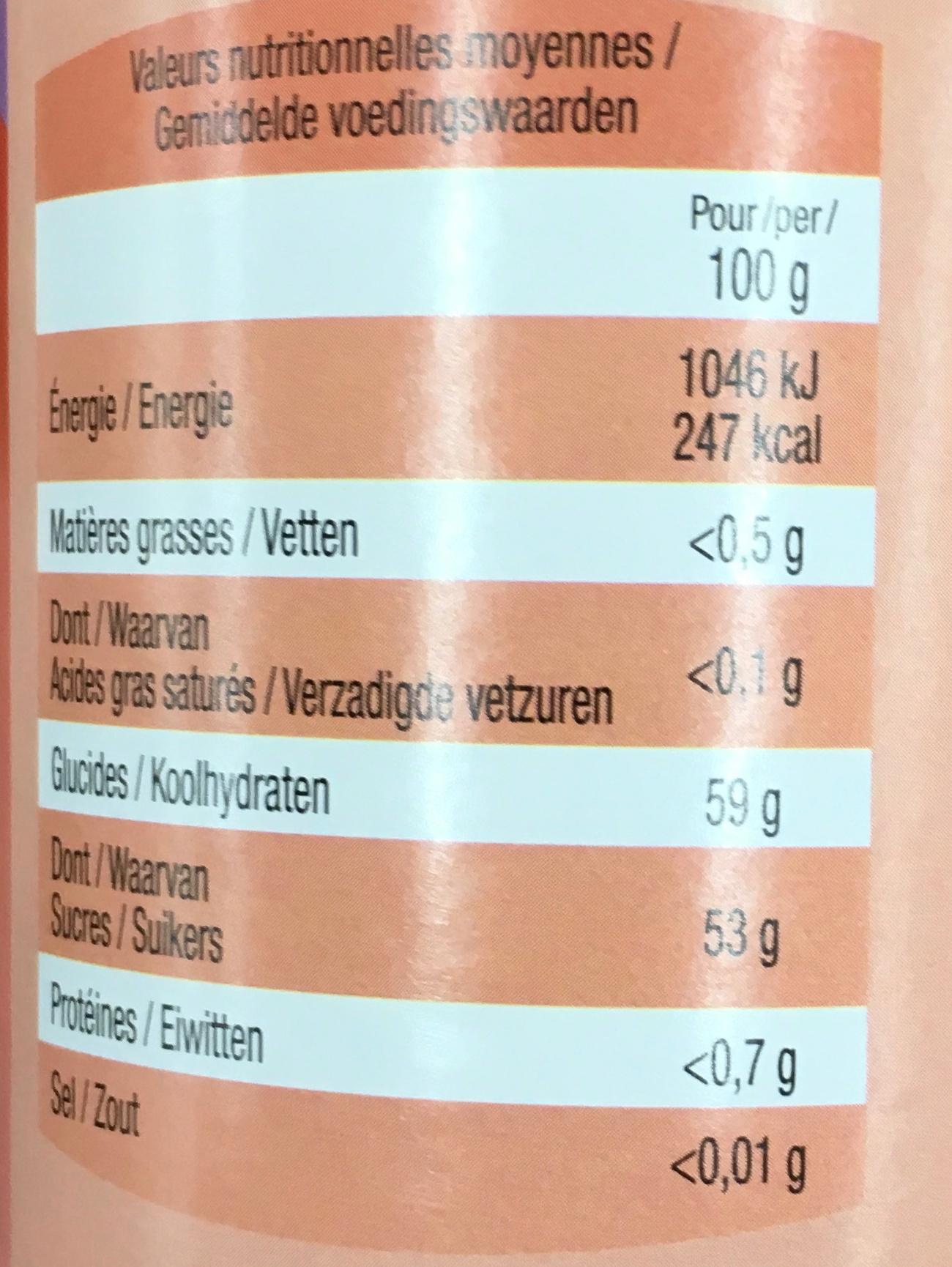 Confiture de myrtilles - Valori nutrizionali - fr
