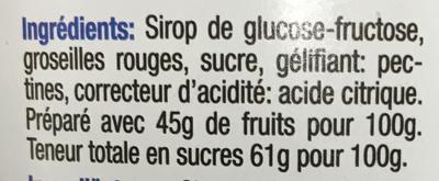 Gelée de groseilles rouges - Ingrediënten - fr
