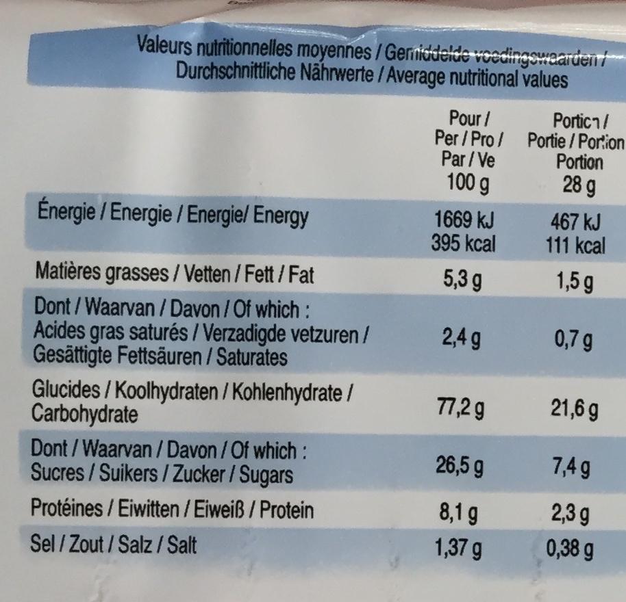 Goûters secs - Voedingswaarden - fr