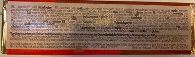 Batons Chocolat Praline Assortis 75G Hamlet - Informations nutritionnelles - fr