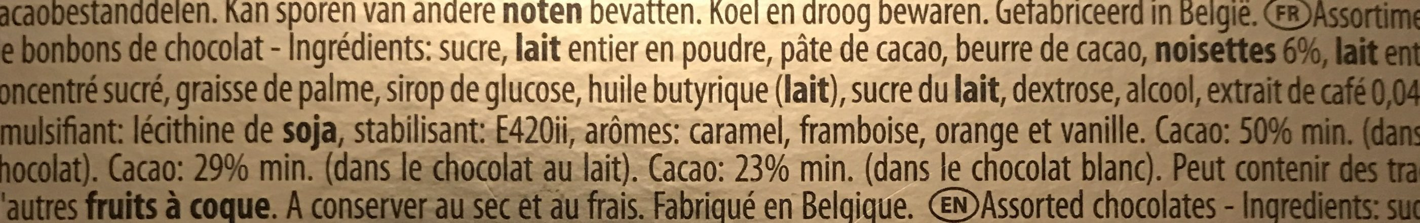 Belgium Hamlet Assortment Chocolates In Golden Box - Ingrédients - fr