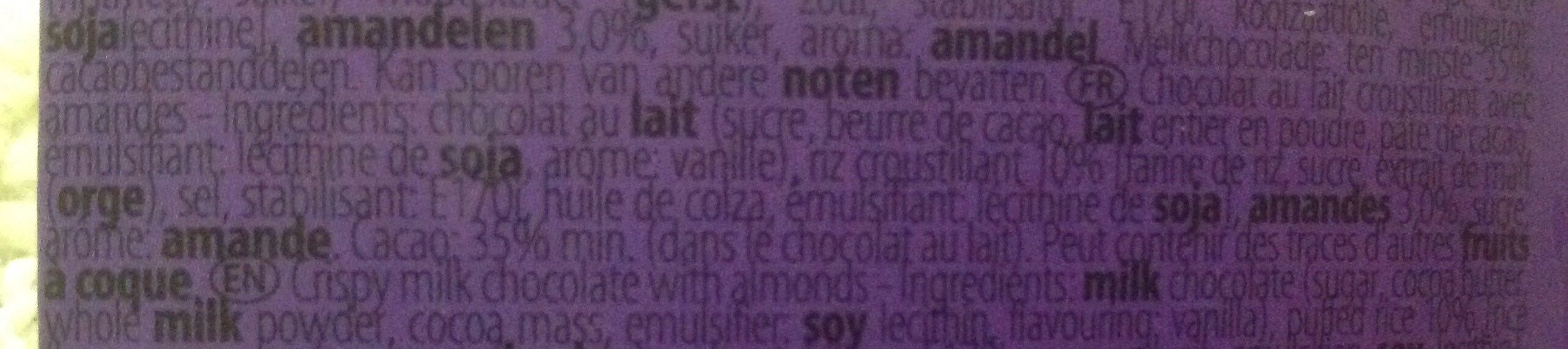 Hamlet Chocola's Crispy Almond 12X125G - Ingrédients - fr